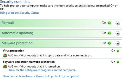 AntiVirus Serves as AntiSpyware in Security Center
