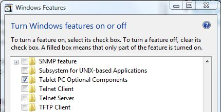 Enable Tablet PC Optional Components in Windows Vista