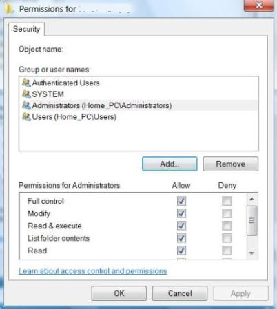 Assign Full Control Permissions