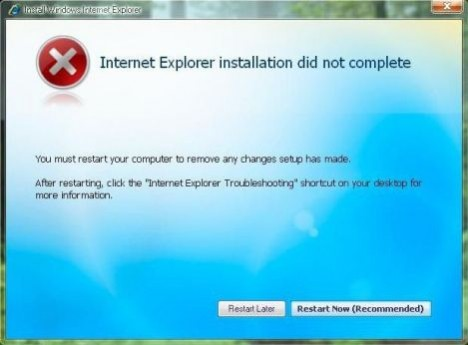 IE7 Installation Did Not Complete