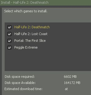 Free HL2 DeathMatch, Lost Coast, Peggle Extreme and Portal