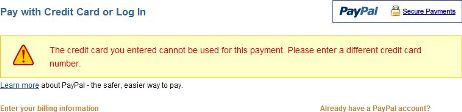 The credit card you entered cannot be used for this payment.