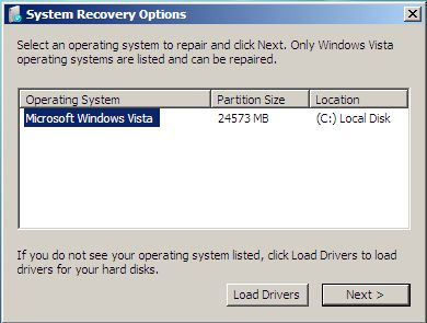 Windows Vista Recovery Environment Console