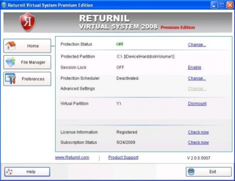 Returnil Virtual System 2008 Premium Edition Free
