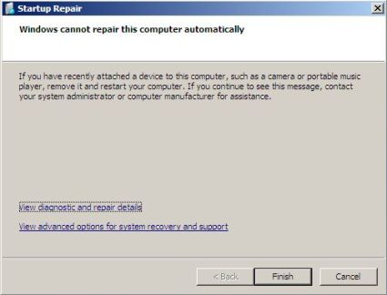Startup Repair Cannot Recover Windows