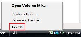 Open Sound Settings in Vista