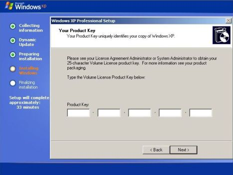 Windows XP SP3 Product Key in Setup