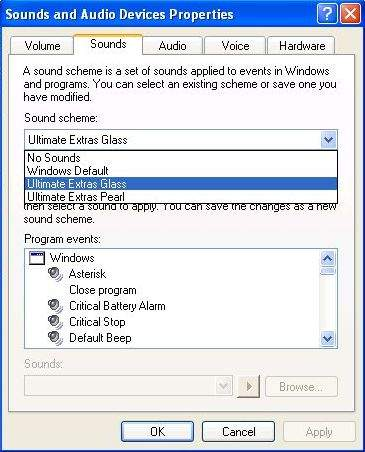 Changing Sound Scheme in Windows XP