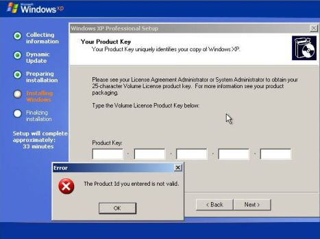 Windows XP SP3 Requires Product Key
