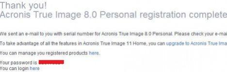 Acronis Registration Account Password