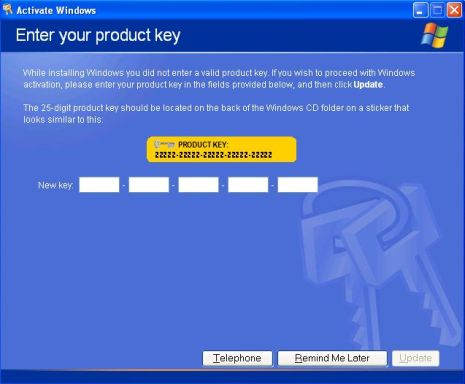 Activation Wizard in XP SP3 Asking for Product Key
