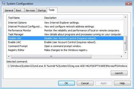 Disable User Access Control with MSConfig