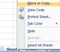 Move or Copy Excel Worksheet