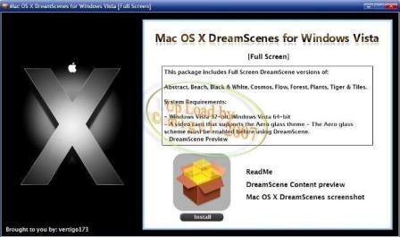 Installation Menu for Mac OS X DreamScene for Windows Vista