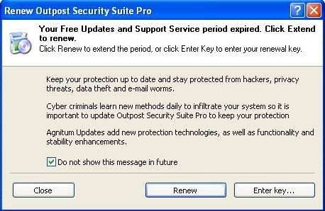 Ignore Renew Outpost Security Suite Pro or Firewall Pro Message