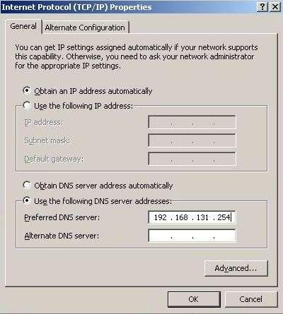 DNS Server Gateway IP for Virtual PC for Internet