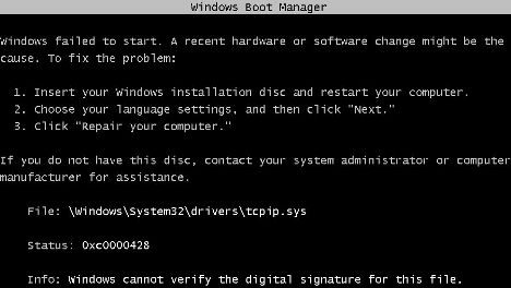 Windows failed to start and cannot verify the digital signature