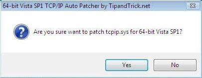 Windows Vista x64 64-bit tcpip.sys Auto Patcher