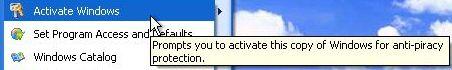 Menu Item to Activate Windows XP SP3