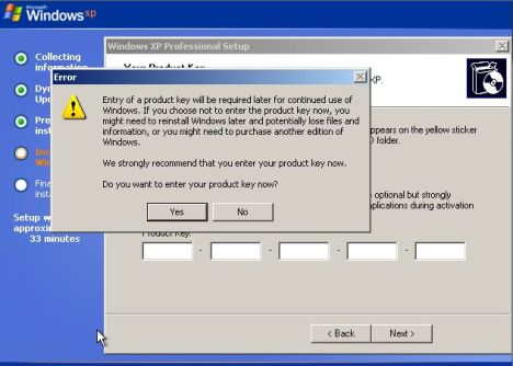 Skip and Bypass Entering Product Key during Windows XP Setup