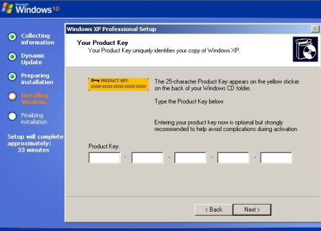 Bypass and Skip Product Key in Windows XP SP3 Installation