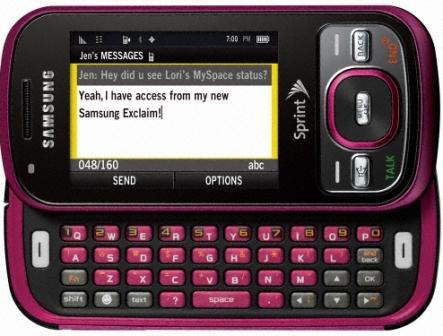 Samsung Exclaim M550 raspberry qwerty