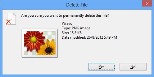 Windows 8 Delete Confirmation Dialog Box