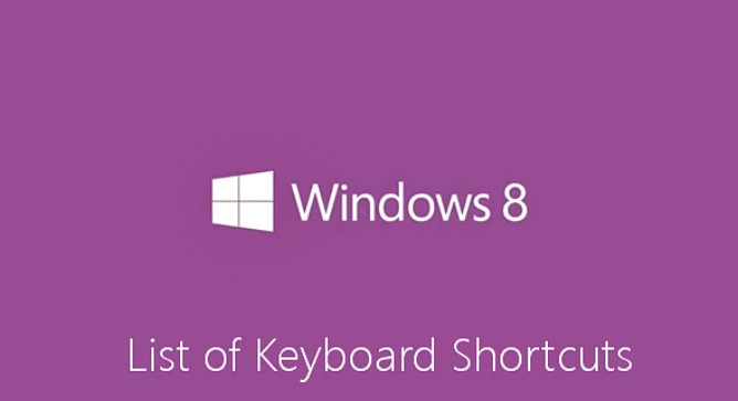Windows 8 Keyboard Shortcuts (Accelerator Keys or Hotkeys)