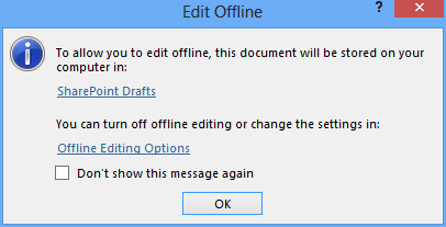 SharePoint Offline Editing Drafts Folder