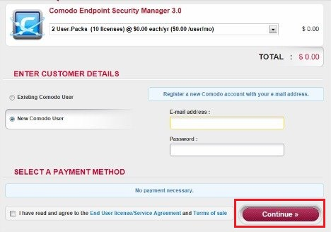 Comodo Endpoint Security Manager Page
