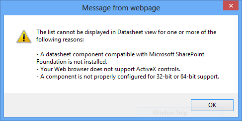 Cannot View SharePoint List in Datasheet View