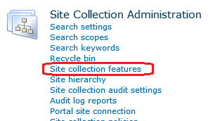 sharepoint site collection features
