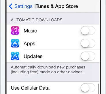 Turn off Automatic updates iTunes App Store