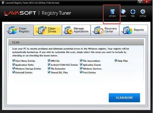 Activate Lavasoft Registry Tuner