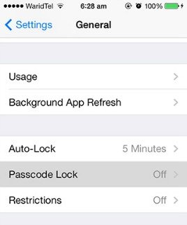 Disable passcode lock ios-7