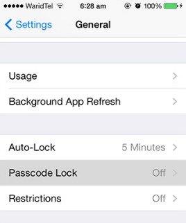 Disable passcode lock ios-7