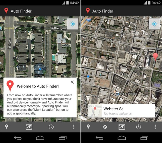 Auto Finder For Android To Keep Track Where You Park The Car
