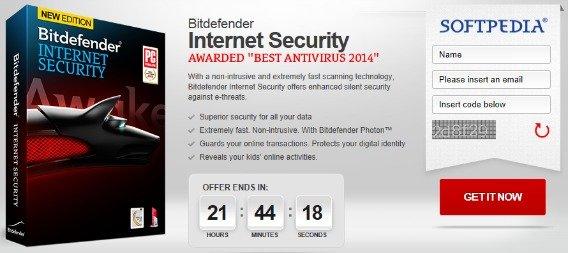 Bitdefender Internet Security 2014 Free Download (9 Months Subscription) Promotional Page