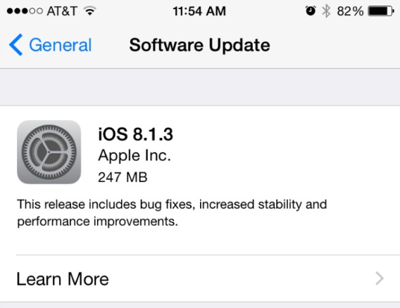 Apple Releases iOS 8.1.3 With Reduces Free Space Required For Update