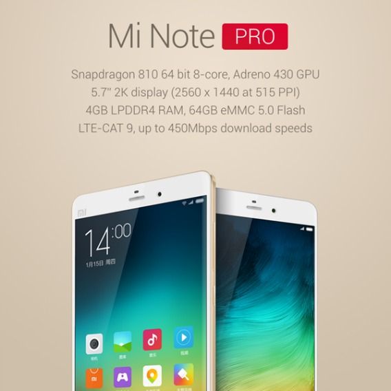 Mi Note Pro Available With Slim, Curved, and Powerful 5.7-inch Touchscreen Display