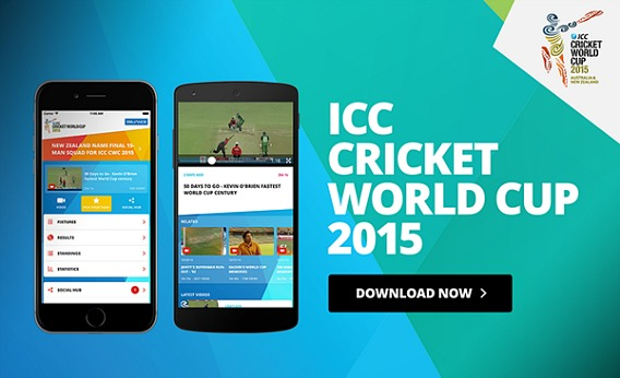 ICC Cricket World Cup 2015 Official App For iOS And Android Free Watch Live