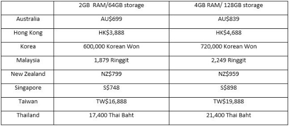 Surface 3 Price in Asia-Pacific region