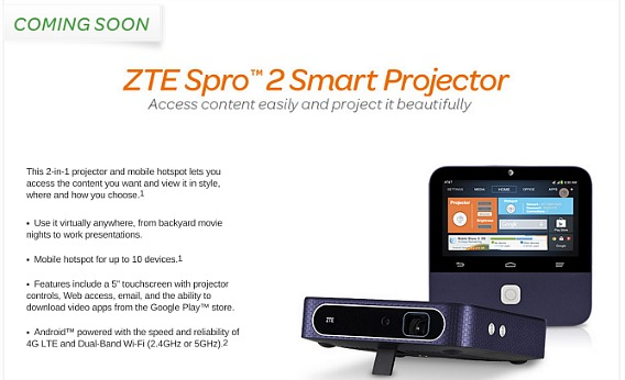 ZTE Spro 2 Android-powered Smart Projector With 720 HD Resolution