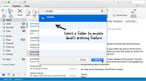 How to setting Gmail's archiving feature to Microsoft Outlook for Mac without scripting gmail archive folder