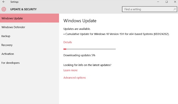 Windows 10 Cumulative Operating System Update (Build 10586.71) - KB3124262