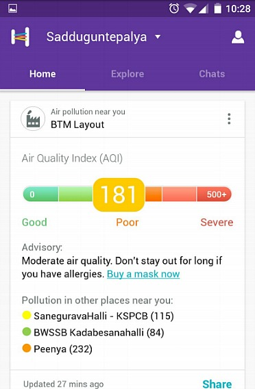 Helpchat Personal Assistant App Now Feature To Alert Users About Air Quality