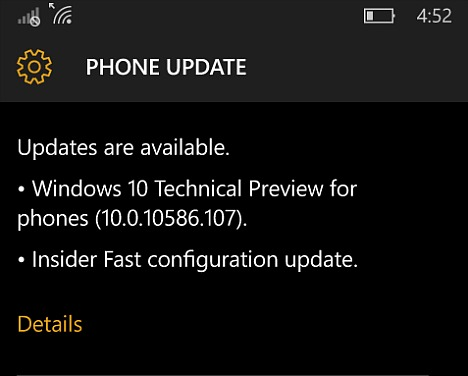 Windows 10 Mobile Insider Preview Build 10586.107 Available for Insider Members With Changelog