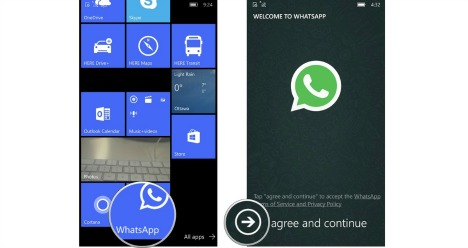 How To Download and Setup WhatsApp on Windows 10 Mobile agree and continue