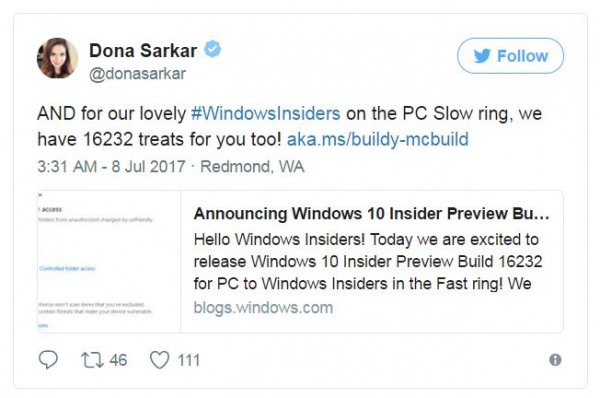 Windows 10 Insider Preview Build 16232 Available for Slow Ring Insiders Member